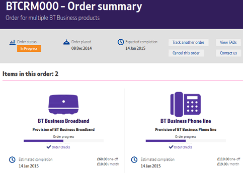 BT Business Order tracker image showing date due, reference, status