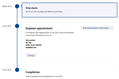 BT Business Order tracker image of change engineer appointment