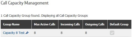 Screenshot of portal - Setting up Call Capacity
