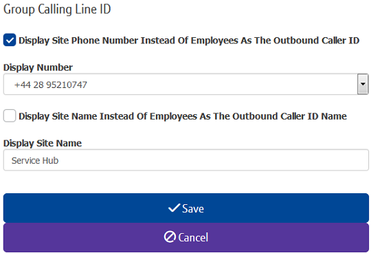 Setting up Group calling line ID