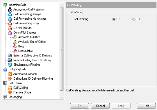Setting up call waiting using the toolbar