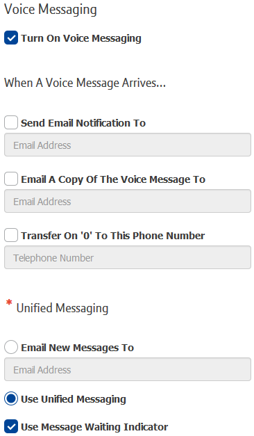 Screenshot of portal - Setting up voicemail