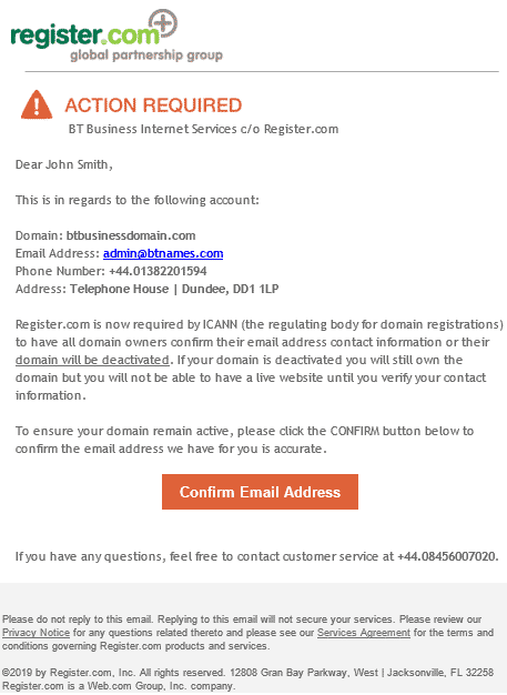 Why have I received an ICANN verification email?   BT Business