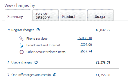 Example View charges section of Billing page