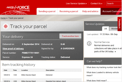 Parcelforce screen shot