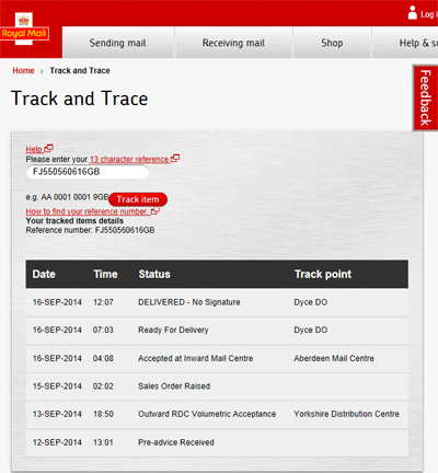 Royal mail screen shot
